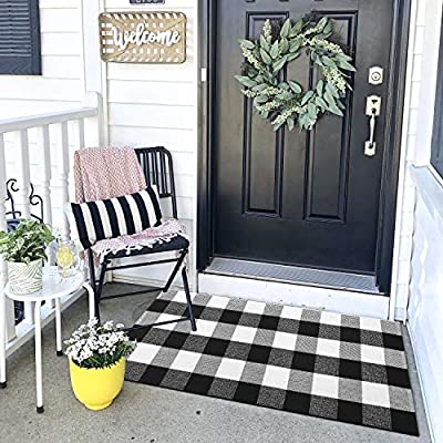 Cotton Buffalo Plaid Rugs Black and White Hand-Woven Checkered Rug Welcome Door Mat Bathroom Outdoor Porch Laundry Living Room Rug for Kitchen Carpet Braided Throw Mat