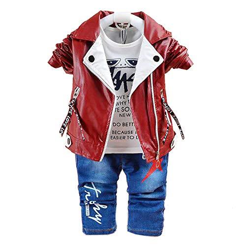 3-teiliges Babykleidungs-Set für Jungen, Baumwollhemd, Jeans, Jeansweste, für Frühling & Herbst Gr. 6-12 Monate, Lederbraun