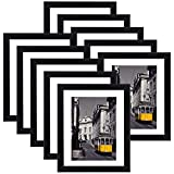 eletecpro 8x10 Picture Frames Set of 10,Display 4x6 or 5x7 Photo Frame with Mat or 8x10 Without Mat,Wall Gallery Photo Frames,Table Top Display or Wall Mounting,Black