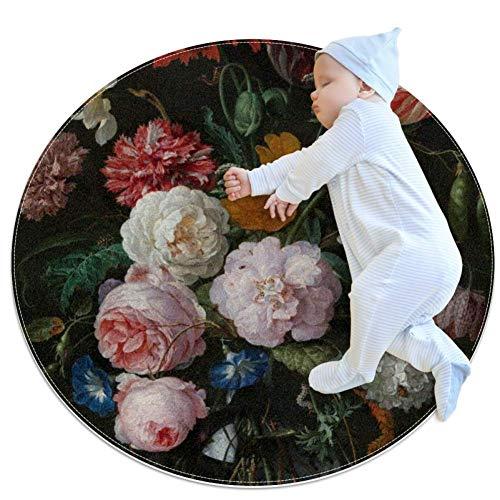 laire Daniel mehrfarbige Blumen-Arrangement, großer Baby-Teppich für Kinderzimmer, rund, warm, weich, rutschfest, 70 x 70 cm, mehrfarbig03, 100x100cm/39.4x39.4IN