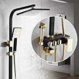 Conjunto de mezclador de ducha de lluvia con grifo de ducha de oro negro con cabezal de rociador de bidé Columna de ducha de baño montada en la pared Kits completos