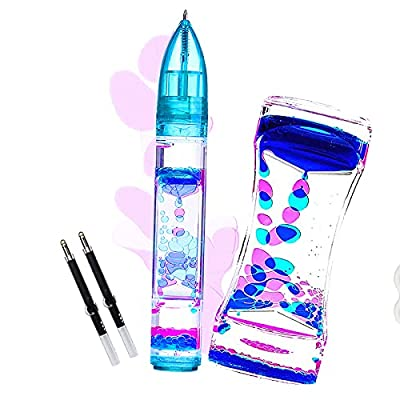Alinwu Liquid Motion Bubbler Set Sensory Toys for Kids and Adults - Colorful Liquid Motion Timer Pens Fidget Toys,for Stress and Anxiety Relief Office Desk Novelty Toys Blue Pink from Idemitsu Kosan Co.,Ltd.
