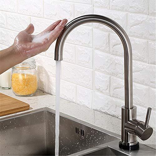 MIJOGO Keukenkraan met pull-down-sprayer, eenhands-smart keuken zink-armaturen met uittrekbare sprayer, roestvrij staal, touch-activated-kraan