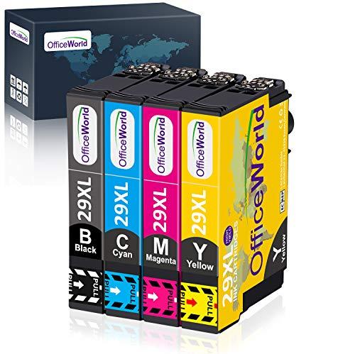 OfficeWorld 29 XL Sostituzione per Epson 29 29XL Cartucce d'inchiostro Compatibile con Epson XP-342 XP-245 XP-442 XP-235 XP-335 XP-432 XP-435 XP-332 XP-345 XP-247(1 Nero,1 Ciano,1 Magenta,1 Giallo)