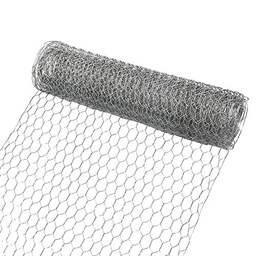 Huhn Draht Netz für Handwerk Wühlmausgitter 5m x 45cm Maschendrahtzaun Leichte Verzinkte Sechseck Draht Mesh mit Mini-Zange und Handschuhe
