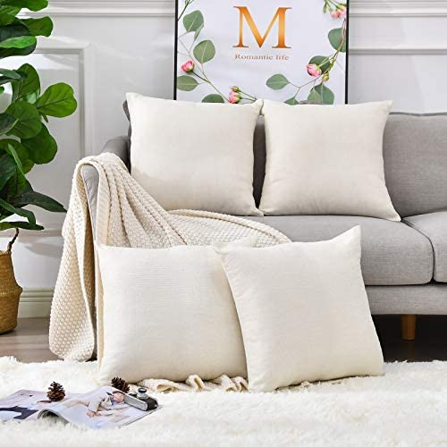 LisBiya Pack 4 Linen Throw Pillow Covers Set Cushion Case for Sofa Bedroom Car Blank for HTV product image