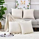 Linen Throw Pillow Covers 18 x 18 Beige...