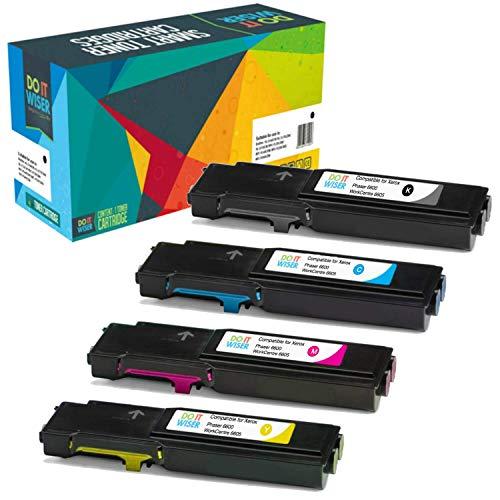 Cartuccia toner Do it wiser compatibile in sostituzione di Xerox WorkCentre 6605 6605n 6605dn Phaser 6600 6600n 6600dn 6600dnm - Nero: 8000 Pagine, Colori: 6000 Pagine - (Confezione da 4)