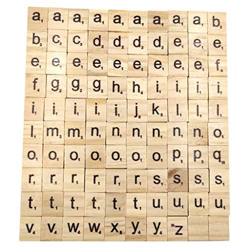 HeiHeiDa 100 Stück Scrabble Buchstaben Holz Buchstabe Fliesen zum Spielen, Lesen für Vorschule Kinder Bildung,DIY Handwerk Dekoration