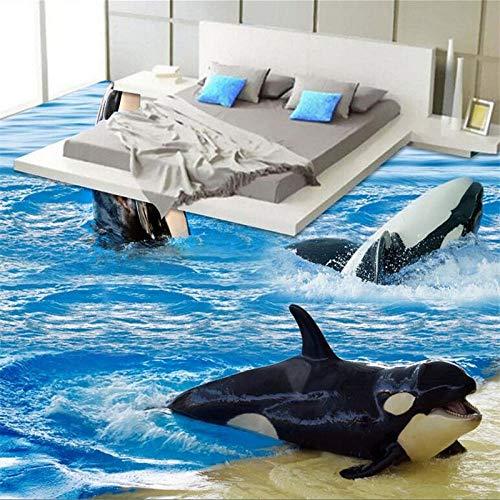 Decorações De Piso Personalizadas 3D Dolphin Spray Waves 3D Ladrilhos Autoadesivos Pintados Com Mural De Parede Piso 3D,430(W)*300(H)Cm