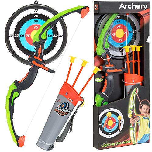 "KiiToys Bow & Arrow Toy Set for Kids, Archery Bow 32"" Long, Suction Arrow 22"", Pretend Play, Soft Power Safe Children Game Set"