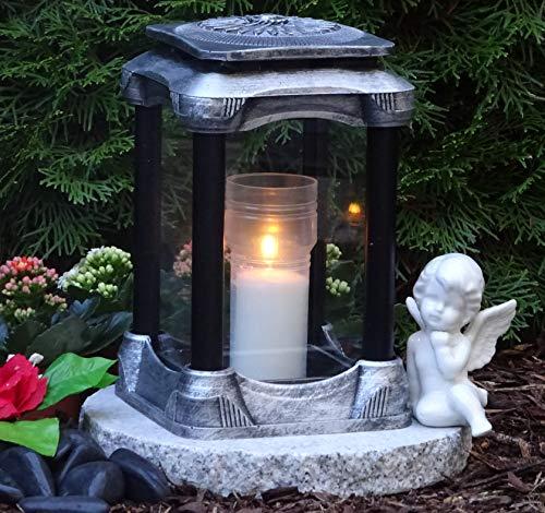 ♥ Grabschmuck Set Grablampe Massiv mit Granitsockel 26,0cm und Grabkerze Grablaterne Grableuchte Grablicht Laterne Kerze Licht Lampe Herz