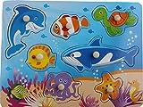 JohnToy Soporte de madera puzzle de pez, 45 cm x 35 cm, 7 unidades
