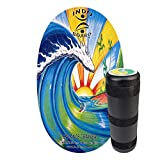 """INDO BOARD Original - Bamboo Beach Design - Balance Board for Fun, Fitness and Sports Training - Comes with 30"""" X 18"""" Non-Slip Deck and a 6.5"""" Roller"""