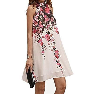 IEason Women Dress, Hot Sale! 2018 Summer Short Dresses Casual Womens Floral Round Neck Cut Out Sleeveless Dress