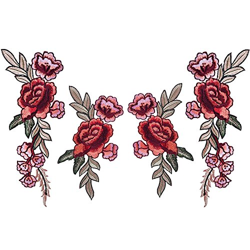 4 Stück Bestickte Aufnäher Blumen Patches Nähen Eisen auf Patch Sticker Applique Badge für Kleid, Hut, Schuhe, Jeans (2 Größen)