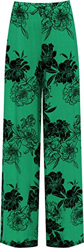 Women's Plus Size Floral Palazzo Pants in Four Colours, Sies 12 to 26