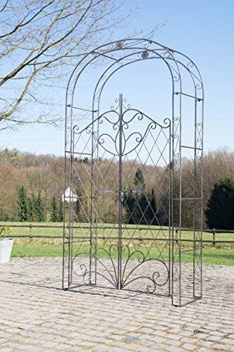 CLP Eisen Rosenbogen Melissa mit Tor/Tür, Doppeltor Höhe 150 cm, Maße gesamt: Breite 120 cm, Höhe 220 cm, Tiefe 40 cm, Farbe:Bronze