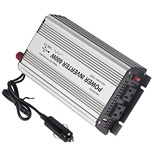 E-LION 600W Power Inverter DC 12V,Output 110V-120V AC Car Inverter with USB Car Adapter