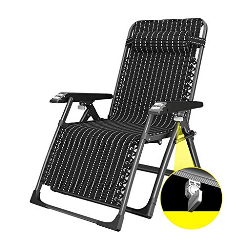 FGVBC Recliner Reclining Sun Lounger Chair Heavy Duty Black Stripe Folding Recliner Garden Chair with Footrest Deck Chairs with Cup Holder