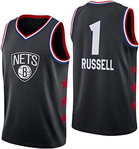 FENGS D'Angelo Russell   1 Jersey Basketball Masculin - NBA Brooklyn Nets, nouveau Jersey Tissu brodé Swinghomme sans Manches
