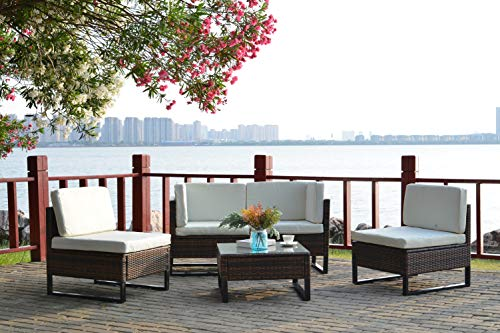 5 Piece Outdoor Ratten Furniture Sofa Set with Cushions, Patio Wicker Rattan Sectional Sofa Set PE Wicker 5 Piece Furniture Sets, Sectional Conversation Sets Sofa Chair with Coffee Table (Beige)