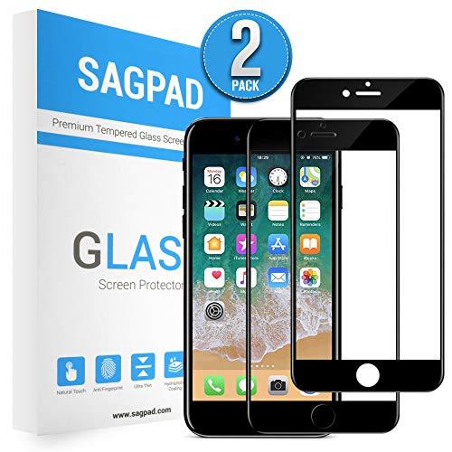 [2 Stück] Panzerglas kompatibel mit iPhone 6/ 6s [Schwarz] -Panzerglasfolie Panzerfolie Glasfolie Displayschutzfolie Schutzglas [Anti-Bläschen]- Schutzfolie iPhone 6/ 6s [Schwarz]