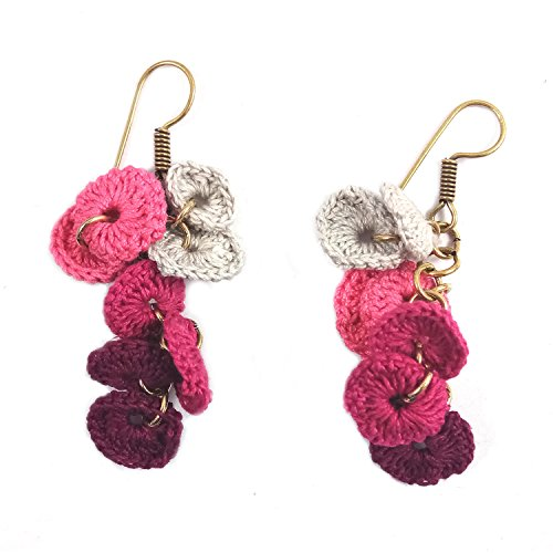 India Meets India Handicraft Crafted Bohemian Drop Dangle Crochet Earrings Tribal Fashion Jewellery For Womens & Girl'S - Cream Maroon Pink