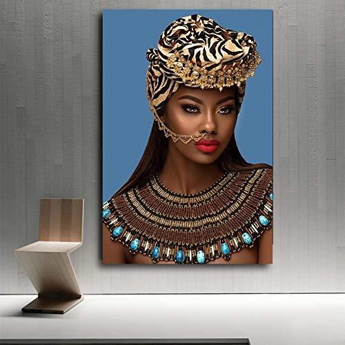 DERFV Golden African Woman Indian Red Red Lips Canvas Painting Poster Scandinavian