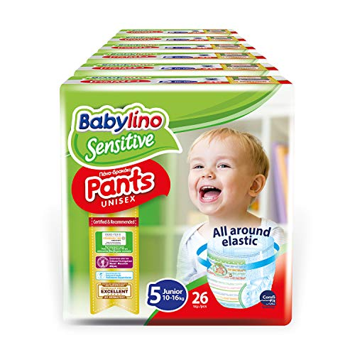 Babylino Sensitive Pants Junior, 156 Pannolini Mutandina Taglia 5 (10-16Kg)