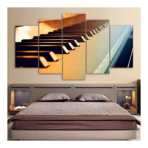 WEIZI Poster Klavier-Tasten-Musik-Instrument Modern 5-Panel Leinwand-Malerei Wand Kunstdruck for Wohnzimmer Hauptdekoration No Frame Murals (Color : A no Frame, Size (Inch) : 30x40 30x60 30x80cm)