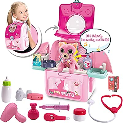 MAGIC4U Pet Cat Carrier Backpack Toy, 23PCS Pet Care Playset,Vet Clinic and Doctor Kit for Kids, Pet Veterinarian Medical Role Play Set for Boys and Girls Ages 3-6 Pink by XIONG CHENG PLASTIC TOY CO. LTD