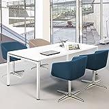 Weber Büroleben GmbH - Tavolo professionale per riunioni, 180 x 80 cm, NOVA U 4-6 persone, colore: Bianco