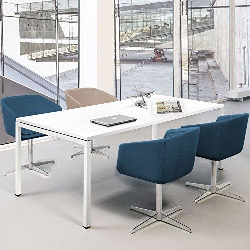 Weber Büroleben GmbH Profi Besprechungstisch 180x80cm NOVA U 4-6 Pers. Konferenztisch Meetingtisch, Gestellfarbe:Weiß