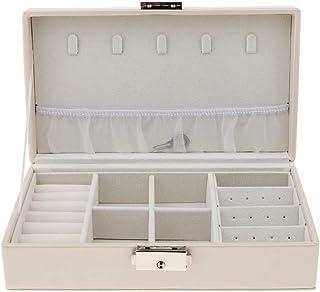 Baoblaze Multi-fonction PU Leather Portable Jewelry Storage Display Cufflinks Case Box 21 x 12 x 6cm - White, 21 x 12 x 6cm