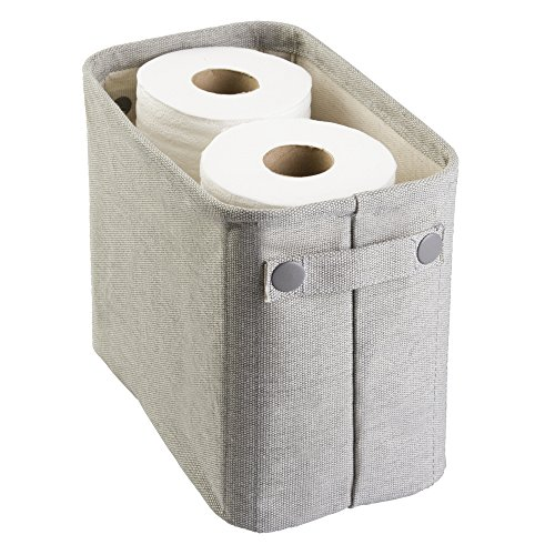 mDesign Soft Cotton Fabric Bathroom Storage Bin Basket with Coated Interior Handles - Organizer for Towels Extra Toilet Tissue Rolls and Closets, Cabinets, Shelves - Rectangular, Light Gray