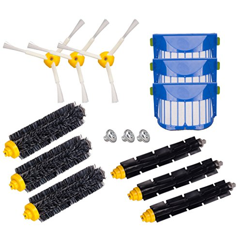 Honfa Accessories Kit for iRobot Roomba 600 Series 671 620 630 650 660 680 690 691 Replacement Parts filters Bristle Brushes&3-Armed Side Brushes&Flexible Beater Brushes