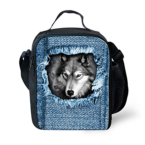 HUGSIDEA Cool 3D Grey Wolf Print Denim Lunch Bags Animal Husky Insulated Lunchbox by HUGSIDEA