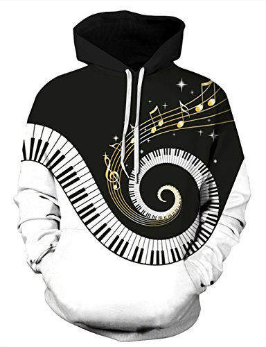 Uideazone Printed Piano Music Note Pullover Hoodie Teen Cool Hooded Sweatshirt