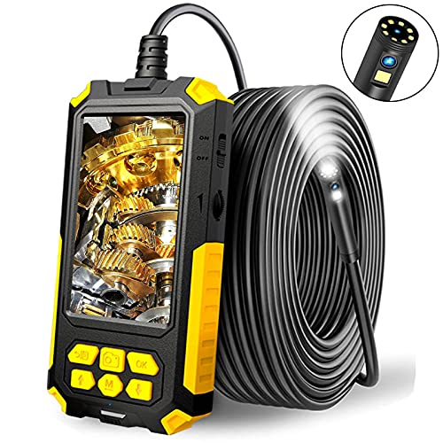 DDENDOCAM Endoscopio Industrial, Endoscopio de Doble Lente 1080P HD, Pantalla IPS de 4,5 Pulgadas, Cámara de inspección Impermeable IP67 con luz LED, Cable semirrígido, Tarjeta TF de 32 GB (10M)