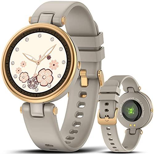 AWSENS Reloj Inteligente Mujer,Reloj Deportivo Mujer a Prueba de Agua IP67, con Ciclo Femenino y Monitor de sueño y calorías, Monitor de frecuencia cardíaca, para Android iOS (Gris ágata)