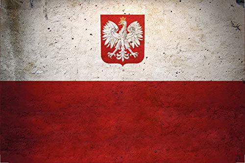 FS land vlag Polen nationale vlag metalen bord bordje gewelfd Metal Sign 20 x 30 cm