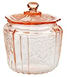 HOME-X Depression Style Glass Cookie and Candy Jar with Lid-Round Flour and Sugar Canister-Vintage Biscuit Jar, Cookie Jar, Apothecary Canister With Lid-Pink