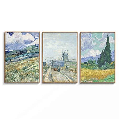 SGFG Van Gogh Campo de Trigo Paisaje Lienzo Pintura Verde Paisaje idílico Pared Arte Carteles Pintura al óleo Sala de Estar decoración 50x75cmx3 sin Marco