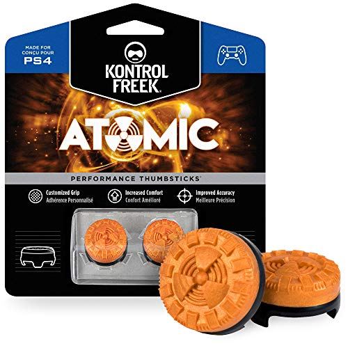 KontrolFreek Atomic for PlayStation 4 (PS4) and PlayStation 5 (PS5) Controller | Performance Thumbsticks | 2 Mid-Rise Convex | Orange