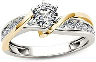 Czjewelry 18K Gold Plated Solitaire Wedding Band | Engagement Rings for Women