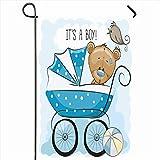 Home Garden Flag, Toy Boy Carrito de bebé pequeño Animales de Peluche Puntos gráficos de Vida Silvestre ornamentados Bebés Animados Oso de Bolas Pájaro Banderas de Patio de casa Impresas a Doble Car