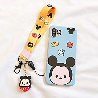 Soft TPU Blue Mickey Mouse Case with Charm Strap for iPhone X iPhoneX Wearable Smooth Ultra Slim Fit Disney Cartoon Tsum Tsum Protective Shockproof Cute Lovely Fashion Gift Girls Teens Kids Women