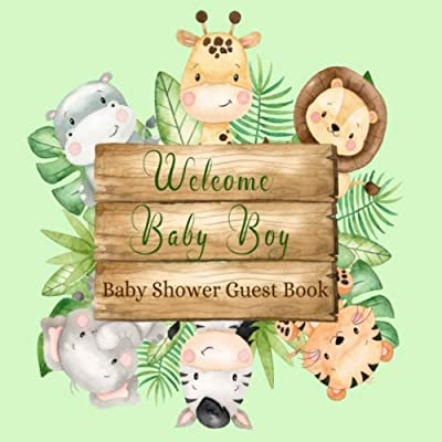 Baby Shower Guest Book Welcome Baby: Jungle Animals Safari Theme Sign-in Guestbook Keepsake with Name, Address, Baby Predictions, Advice for Parents, Wishes for Baby, Gift Tracker Log + Photo Book