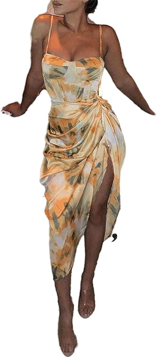 FRMUIC Women's Suspender Sexy Printing Dress Slim Fit Bag Hip El